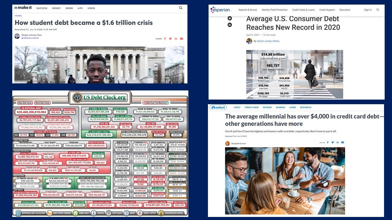 News articles about the rise of debt. This is why we need to teach our kids about personal finance